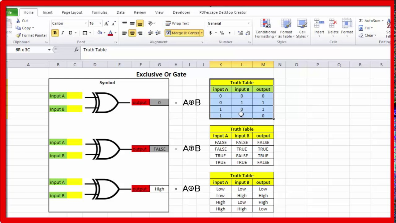 Exclusive Or Gate And Truth Table In EXCEL (Xor Gate)
