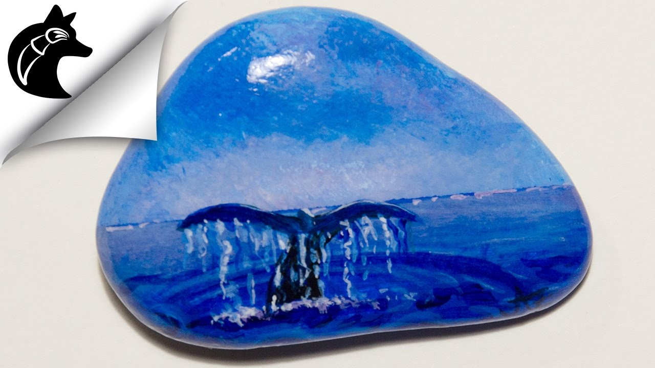 steine bemalen how to paint a seascape rockpainting real time youtube. Black Bedroom Furniture Sets. Home Design Ideas