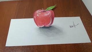 Как нарисовать 3D РИСУНОК на бумаге карандашом. ЯБЛОКО. How to draw 3D(Как нарисовать 3D РИСУНОК на бумаге карандашом. How to draw 3D. Здравствуйте, в этом видео вы увидите, как нарисоват..., 2016-03-02T23:37:27.000Z)