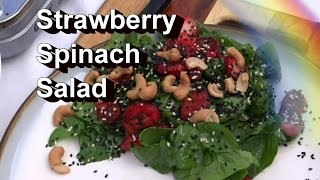 Strawberry Spinach Salad Recipe With Sandwich - Spring Seasonal Recipe
