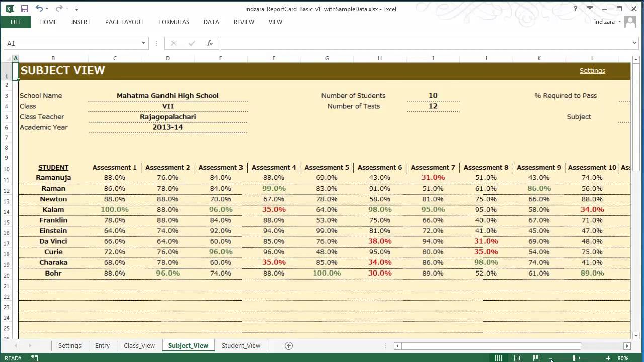 Report Card (Basic) - Excel Template - YouTube