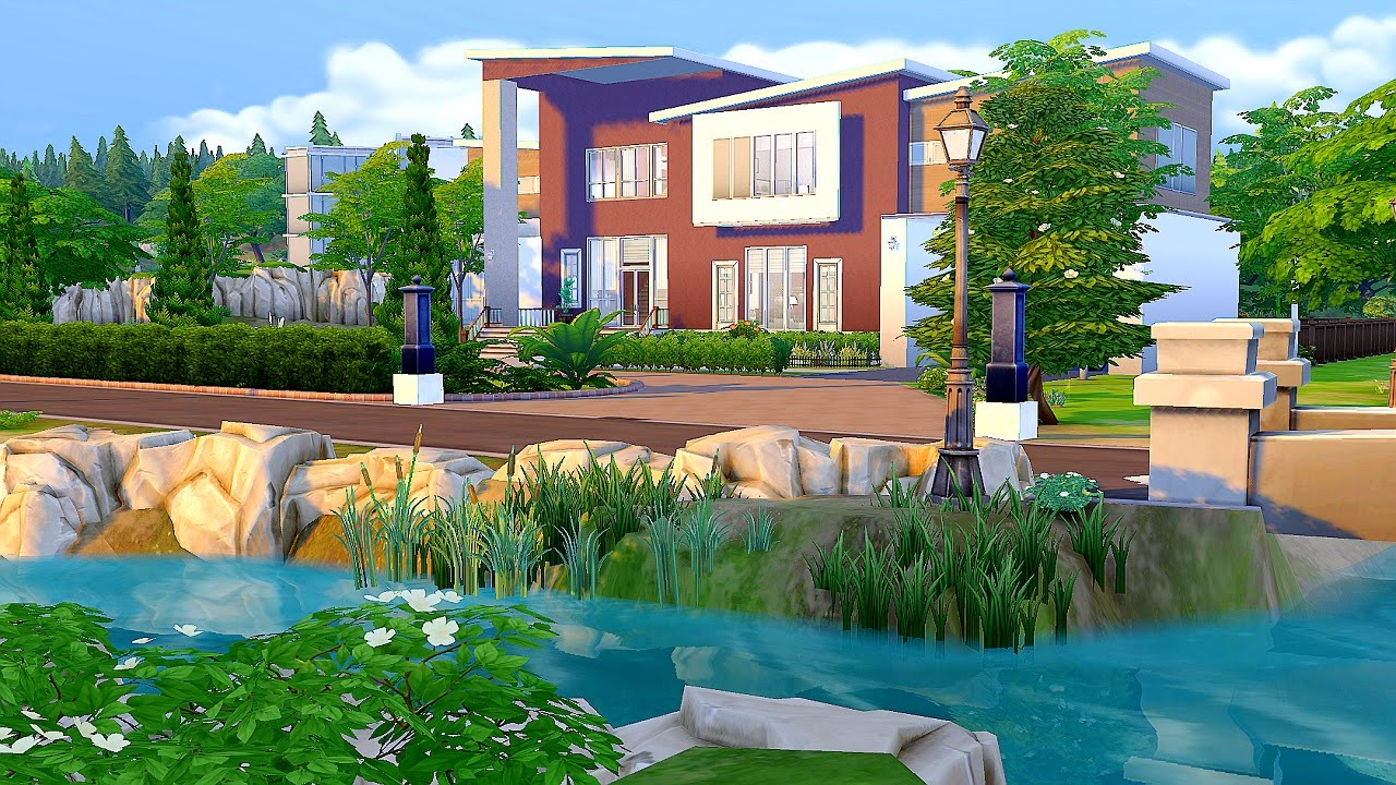 The sims 4 modern family home youtube for Big modern house sims 4