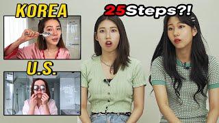 Korean Girls React to Korean Skincare routines in the US  VS KOREA (Zoey Deutch, Irene Kim) 25 STEPS