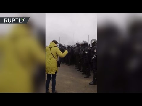 Украинцы вышли на протест против размещения на карантин эвакуированных из Китая