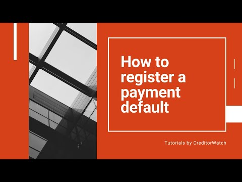 How to register a payment default