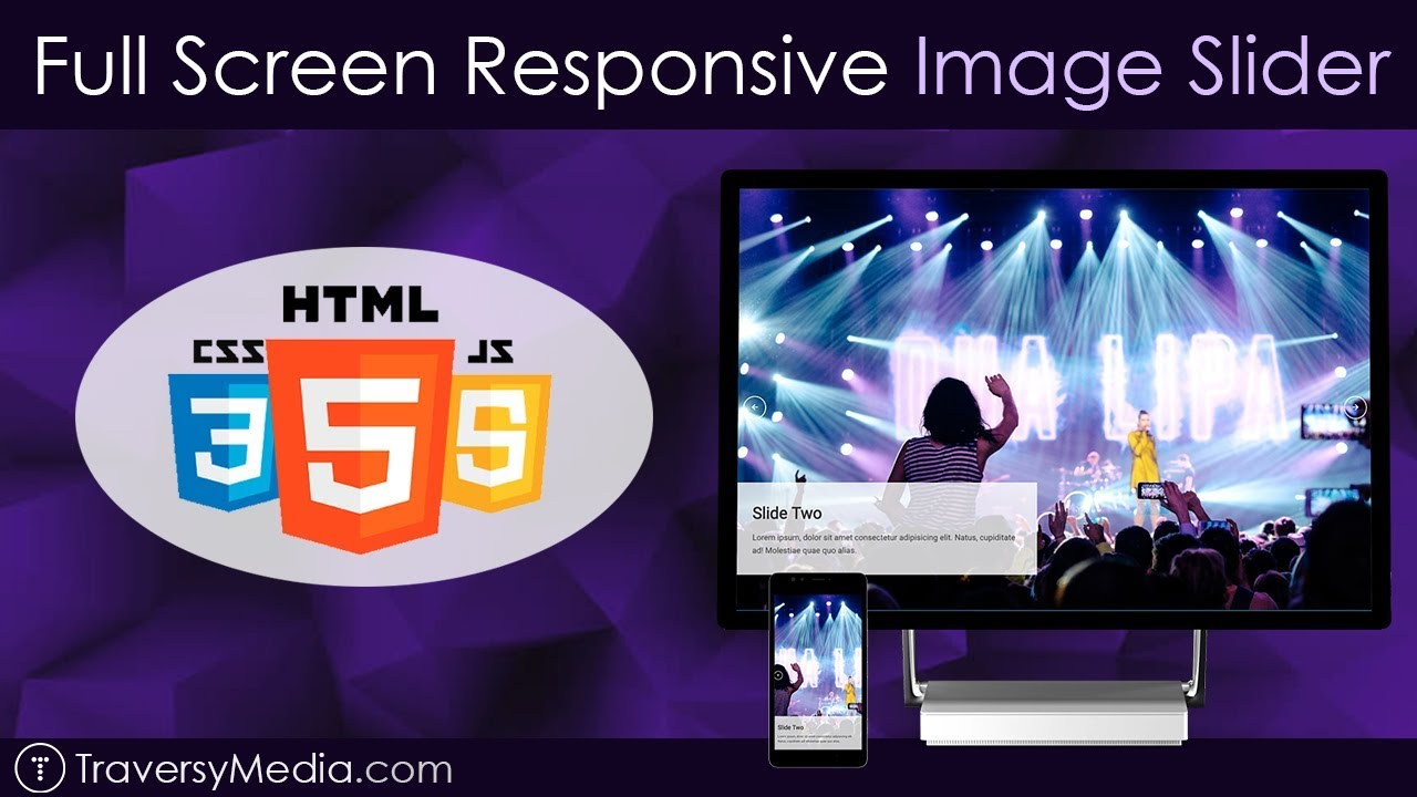 Full Screen Responsive Image Slider | No Libraries