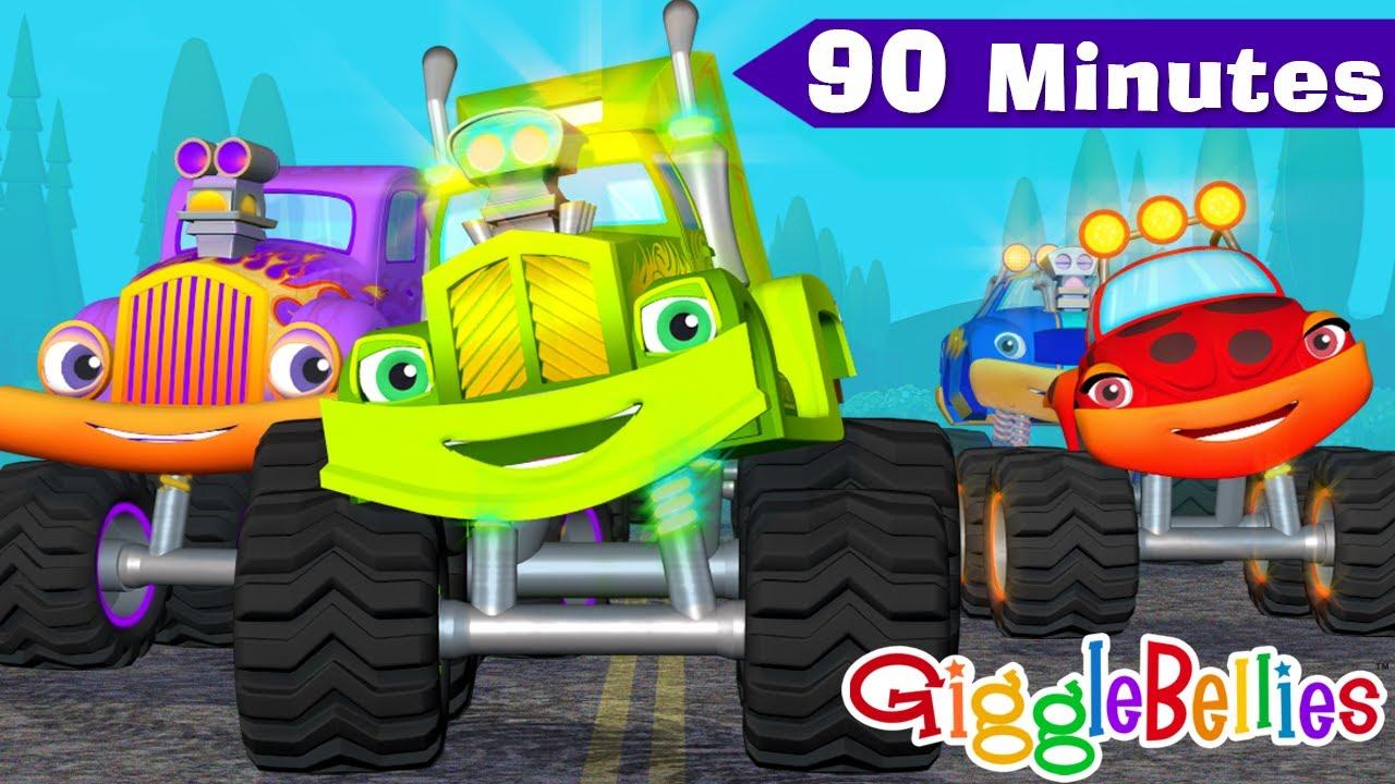 Monster Trucks For Children 1 Hour - Monster Truck Cartoon + Wheels On The Bus, Wheels On The Truck