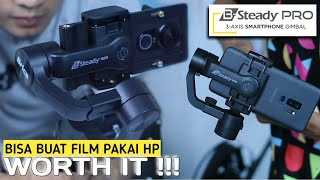 Brica B-Steady Pro Bsteady Pro - 3 Axis Gimbal Smartphone HP - 3 Handheld Gimbal Actioncam - Stabillizer Smartphone Free T-Shirt Kaos Brica - Hitam