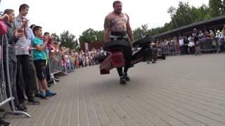 Vladimir Bulgakov VS Ruslan Pustovoy. Farmer's walk 2х130 kg.Final Strongman Amateur League.