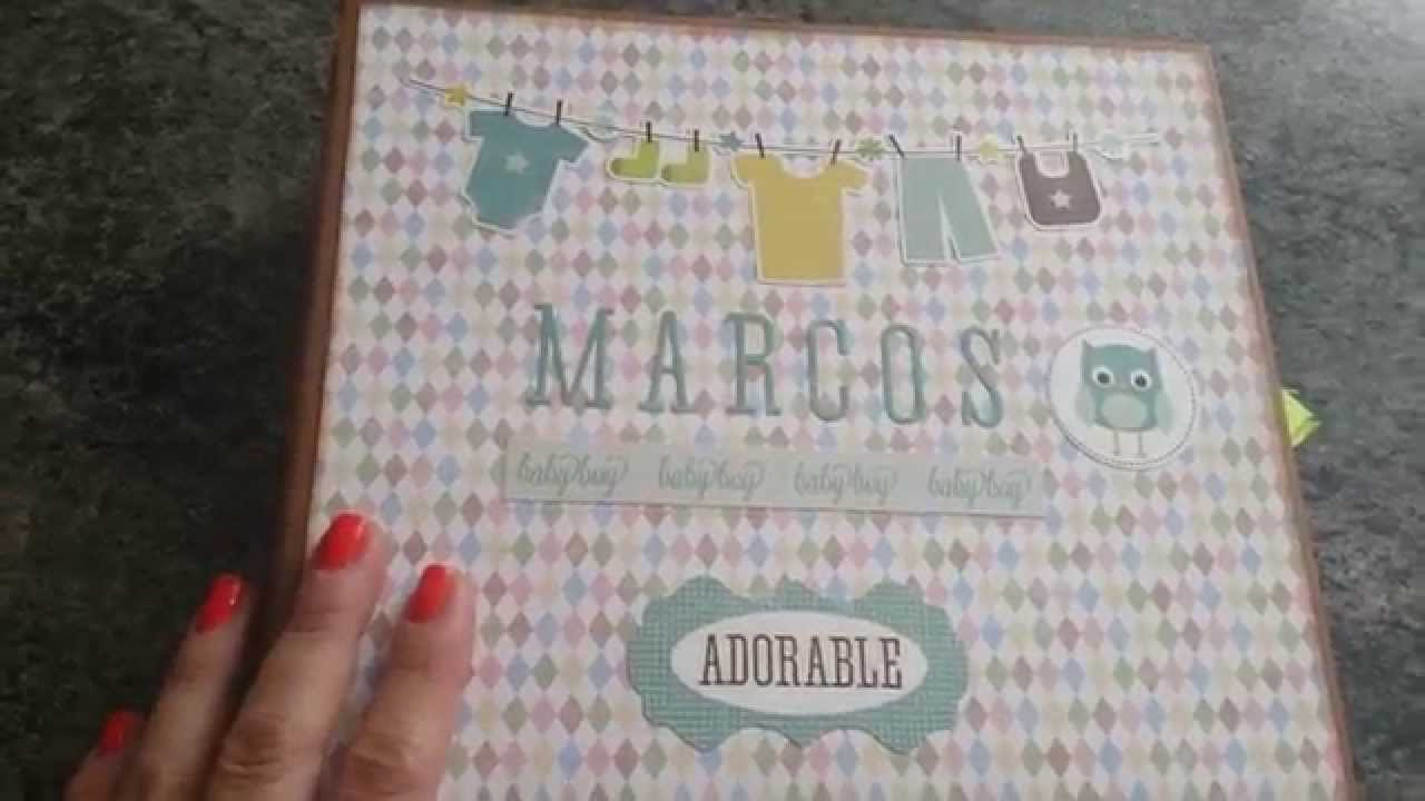 Mini album scrapbook bebé Marcos - YouTube