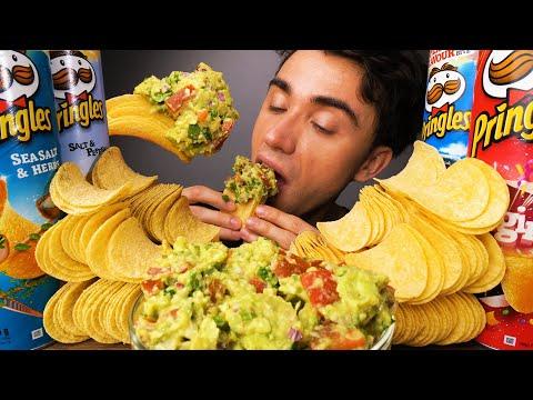 SALT PRINGLES FLAVORS RANKED & EASY GUACAMOLE RECIPE (Crunchy Eating Sounds)   McBang ASMR