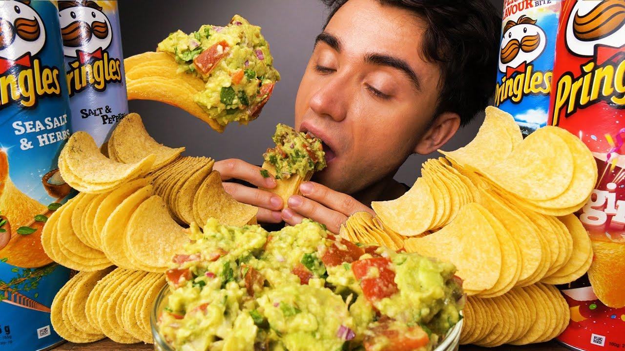 SALT PRINGLES FLAVORS RANKED & EASY GUACAMOLE RECIPE (Crunchy Eating Sounds) | McBang ASMR