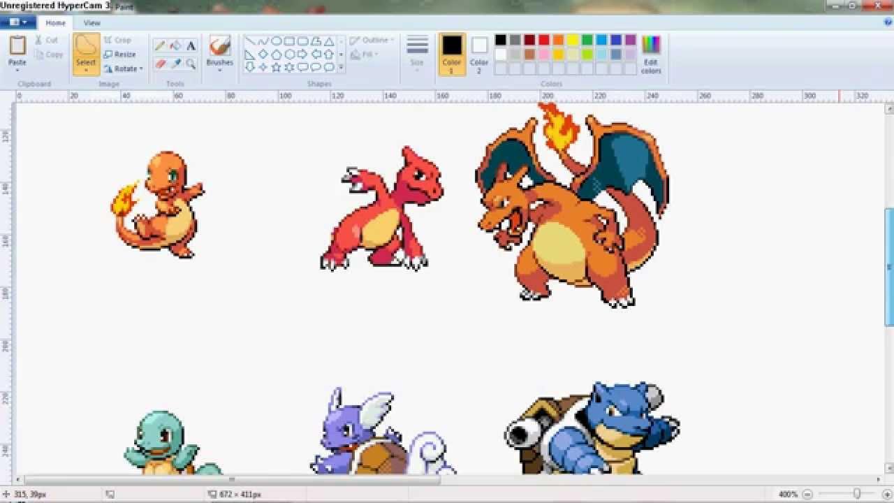 Pokemon sprite mixing-Kanto starters-Charmander - YouTube