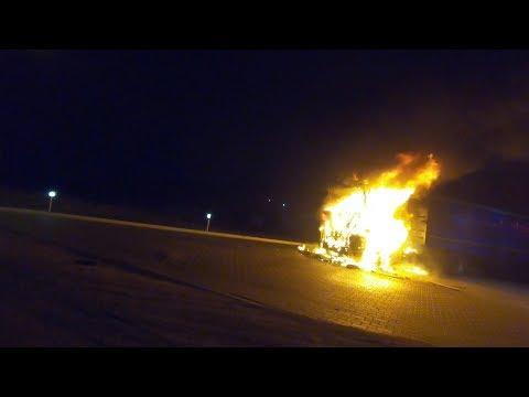Сгорел грузовик Renault магнум за 15 минут. Опасность дальнобоя (БЕЗ ЦЕНЗУРЫ)