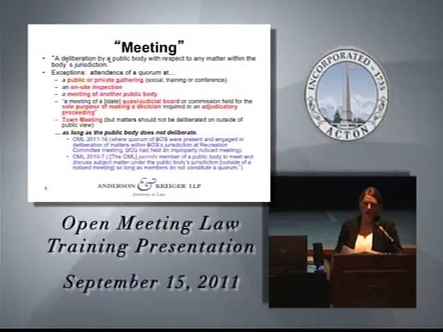 Open Meeting Law Sept 2011