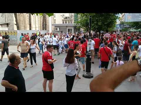 Uefa Super Cup 2017 Skopje Real Madrid fans walk over Man utd fans
