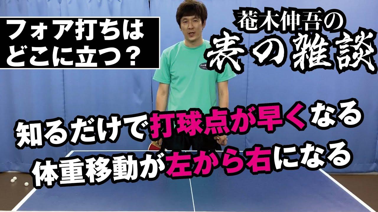 【卓球グッズWEB】菴木伸吾の表の雑談。知ってれば打球点も体の使い方も変わる立ち位置