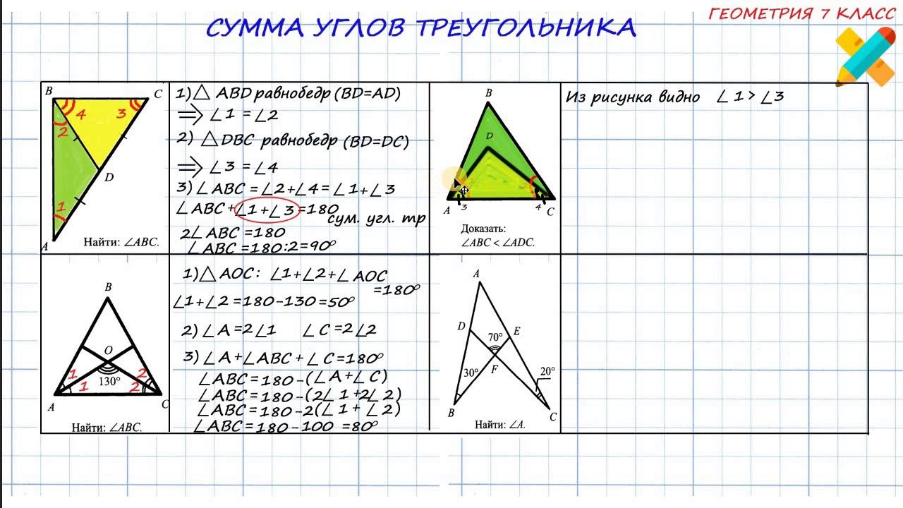 Сумма углов треугольника решение задач 7 класс решения задач непрерывные случайные величины