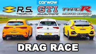 VW Golf GTI Clubsport v Civic Type R v Megane Trophy: DRAG RACE