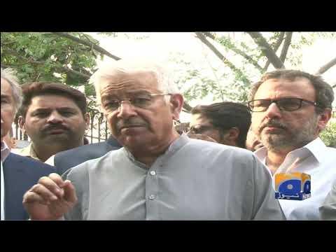 PMLN Leaders Ahsan Iqbal and Khawaja Asif Media talk