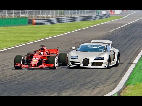 Ferrari F1 2018 vs Bugatti Veyron Super Sport - Monza