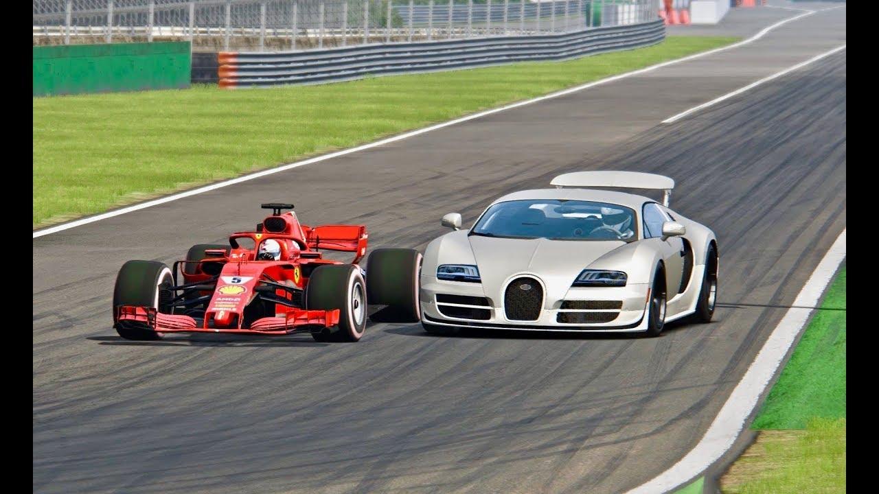 ferrari f1 2018 vs bugatti veyron super sport monza youtube