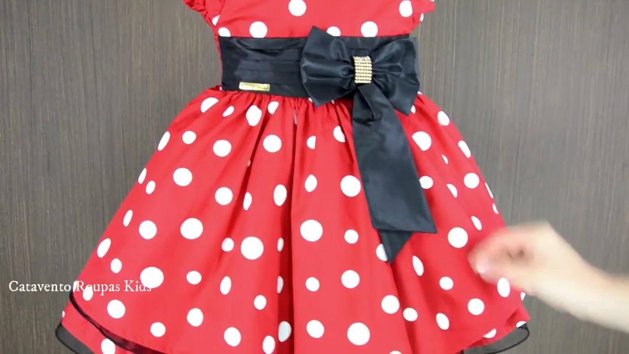 f9945ef70f4 Vestido de festa Infantil Menina Bonita Minnie vermelho bolinhas brancas