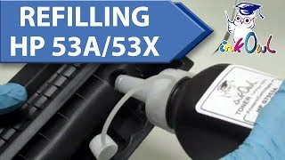 How to Refill a HP Q7553A (53A) / Q7553X (53X) Cartridge(Learn how to empty your excess toner compartment and fill up the cartridge to save money and protect the environment., 2010-08-07T07:22:54.000Z)