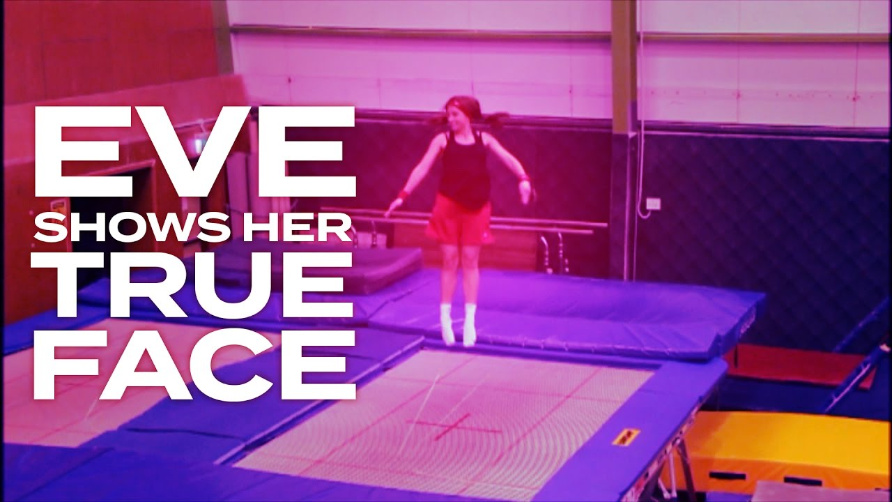EVE SHOWS HER TRUE FACE - Adam & Eve go head to head in an Adam vs Eve trampolining challenge.