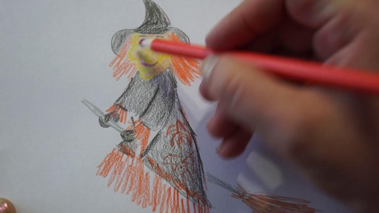 Hexe Mit Besen Zeichnen Für Kinder How To Draw A Witch Happy