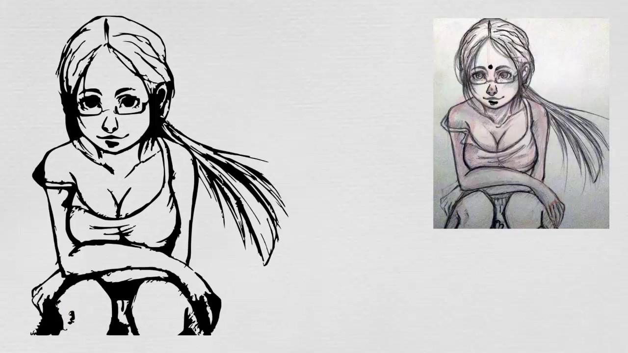 How to Draw a Cartoon Girl - Easy Step-by-Step Drawing ... |Simple Girl Drawing