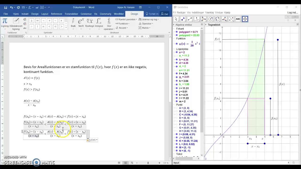 Bevis for Arealfunktion som stamfunktion til f(x)