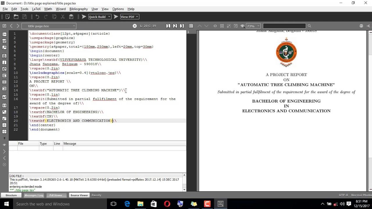 Writing Vtu Project Report