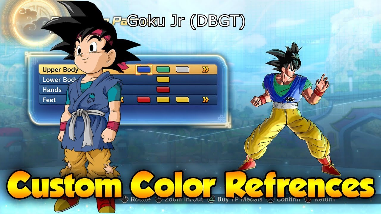 xenoverse 2 custom character color reference goku jr lord chilled