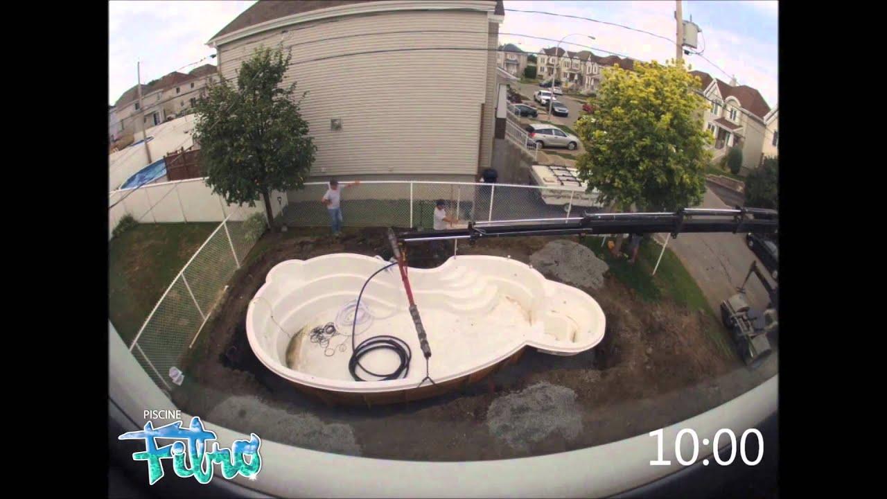 Installation compl te en une journ e d 39 une piscine fibro for Journee piscine