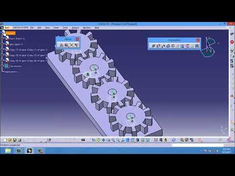 Catia  Gear Animation   CATIA training   Kinematics Simulation Animation Gear Joint   catia v5, v6