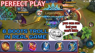 Six boots troll in real game | Perfect play | Mobile Legends