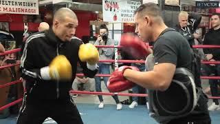 Chris Eubank Jr DREAM TEAM doing pads with Nate Vasquez for Matt Korobov