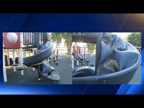 Playground slide explodes, burns boy, 9