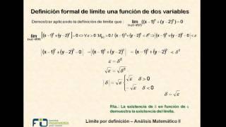 Cálculo en dos variables. Límite por definición