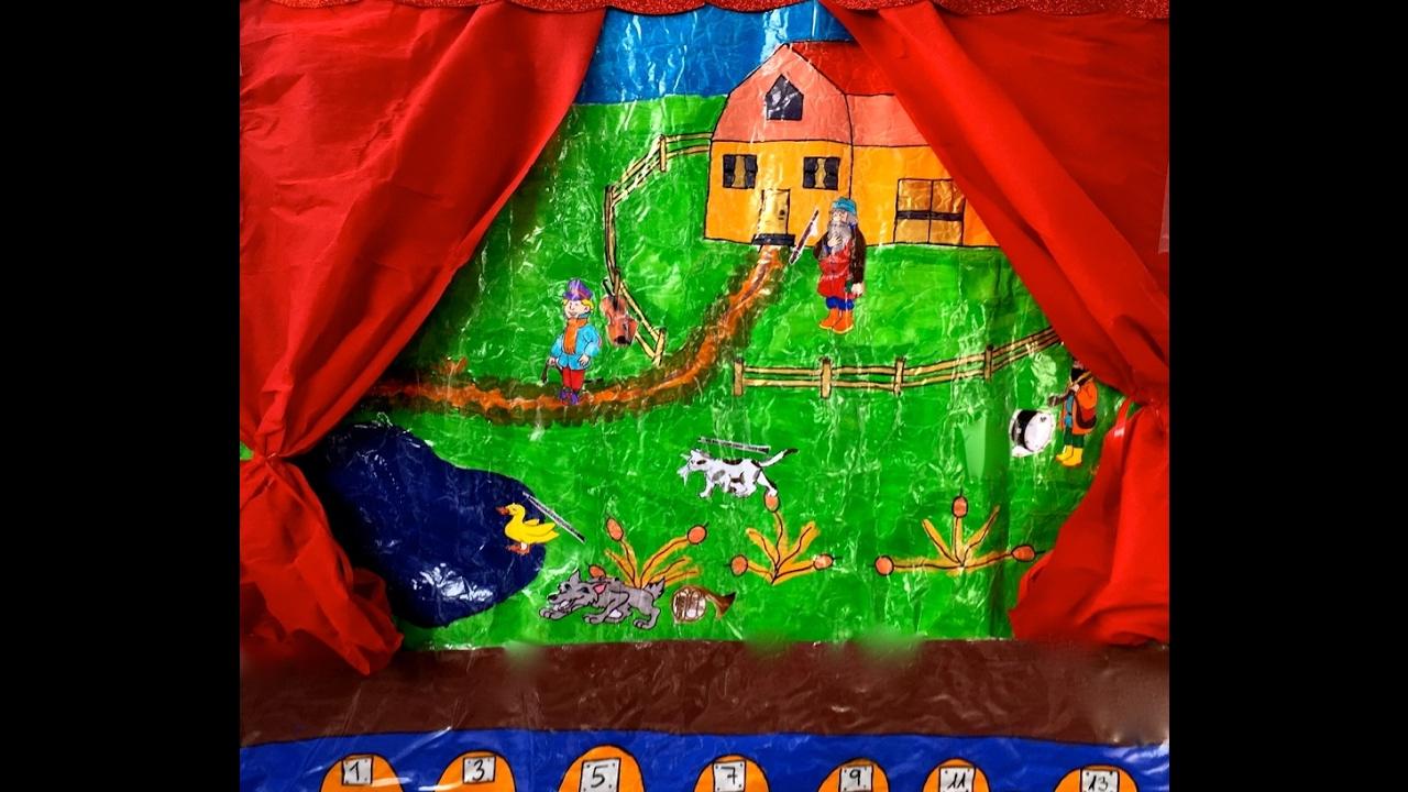 Pedro Y El Lobo Representado Con Marionetas De Luz Negra En Escuela