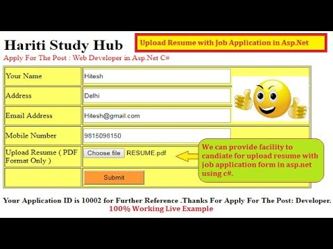 Upload Resume in PDF with Job Application Online in Asp.Net C# | Hindi  | Free Online Classes