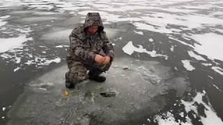 Первый лед 2017 ловля живца