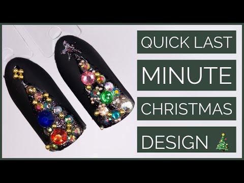 Last Minute Christmas Nail Art Tutorial Bling Nail Art Tutorial Christmas Tree