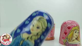 New DISNEY PRINCESS Nesting Dolls Aurora Frozen Elsa Anna Elena of Avalor Merida Surprise Kids Toys