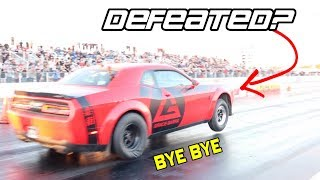 UH OH! YOUTUBERS DRAG RACE DODGE DEMON AND BEAT OWNERS BEST TIME AT ITSJUSTA6 MONEYSHIFT