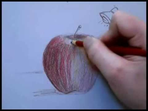 Colored pencil drawing of an apple part 1 youtube