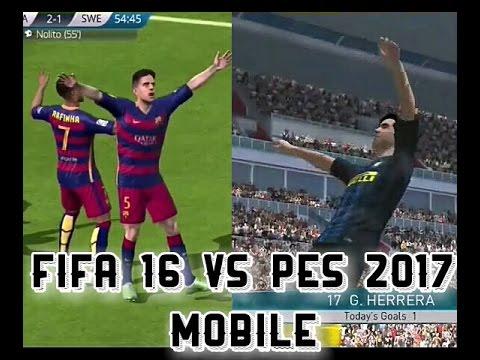 PES 2017 VS FIFA 16 mobile compare graphics