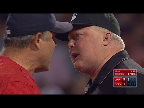 LAA@BOS: Maybin scores on balk, Farrell ejected
