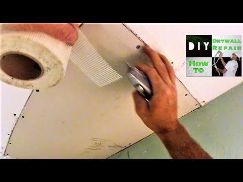 Water Damage Drywall Ceiling Repair Adding a furring strip,drywall installation,Fiberglass Mesh PT1